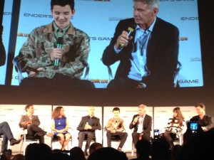 Ender's Game Q&A - Harrison Ford talking, Asa Butterfield, Ben Kingsley, Gavin Hood, Gigi Pritzker, cast sitting down
