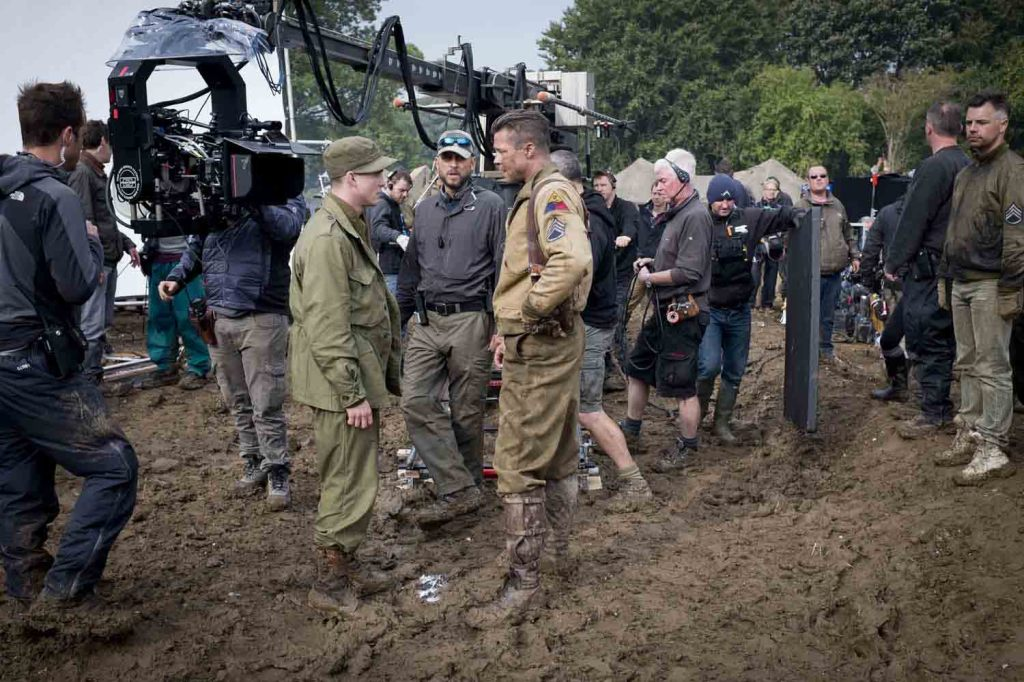 Fury - Brad Pitt, Logan Lerman, David Ayer on location