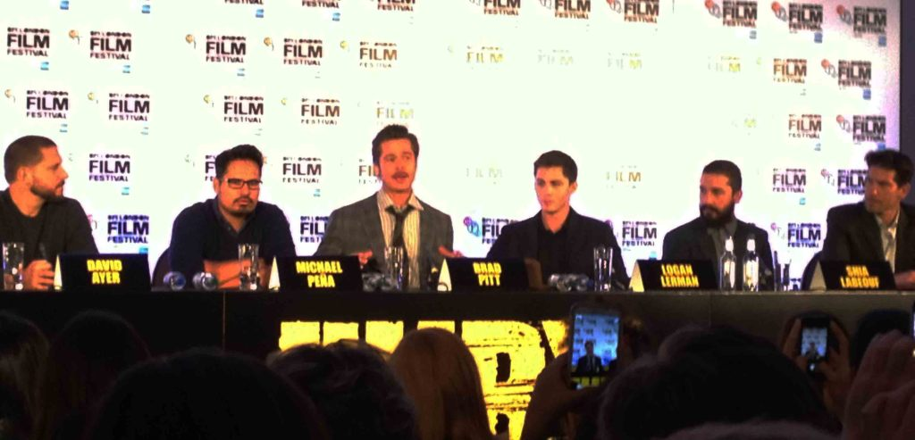 Fury Press Conference - Brad Pitt, David Ayer, Michael Pena, Logan Lerman, Shia LaBeouf, John Bernthal