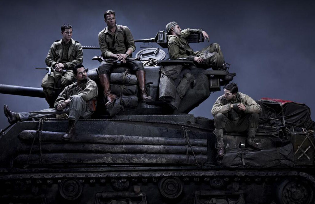 Fury Press Conference - Brad Pitt, David Ayer, Michael Pena, Logan Lerman, Shia LaBeouf, John Bernthal - publicity shot