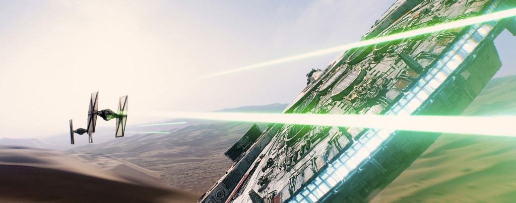Star-Wars---The-Force-Awakens---Millennium-Falcon,-TIE-Fighters