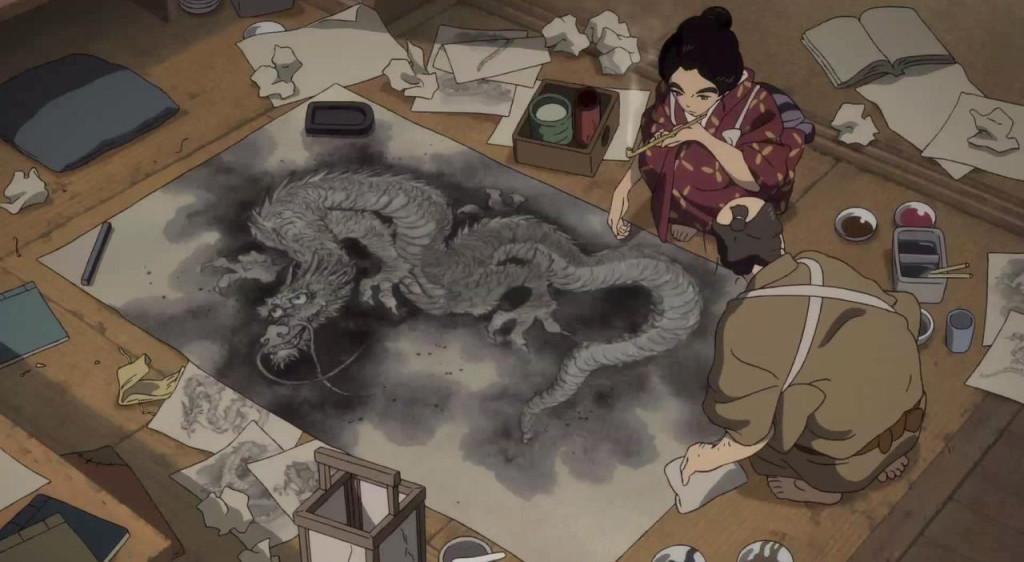 Miss-Hokusai---O-Ei,-Tetsuzo,-dragon-painting